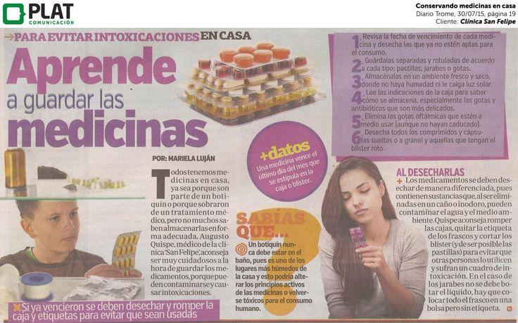 Clínica San Felipe: Conservando medicinas en casa en el diario Trome de Perú (30/07/15)