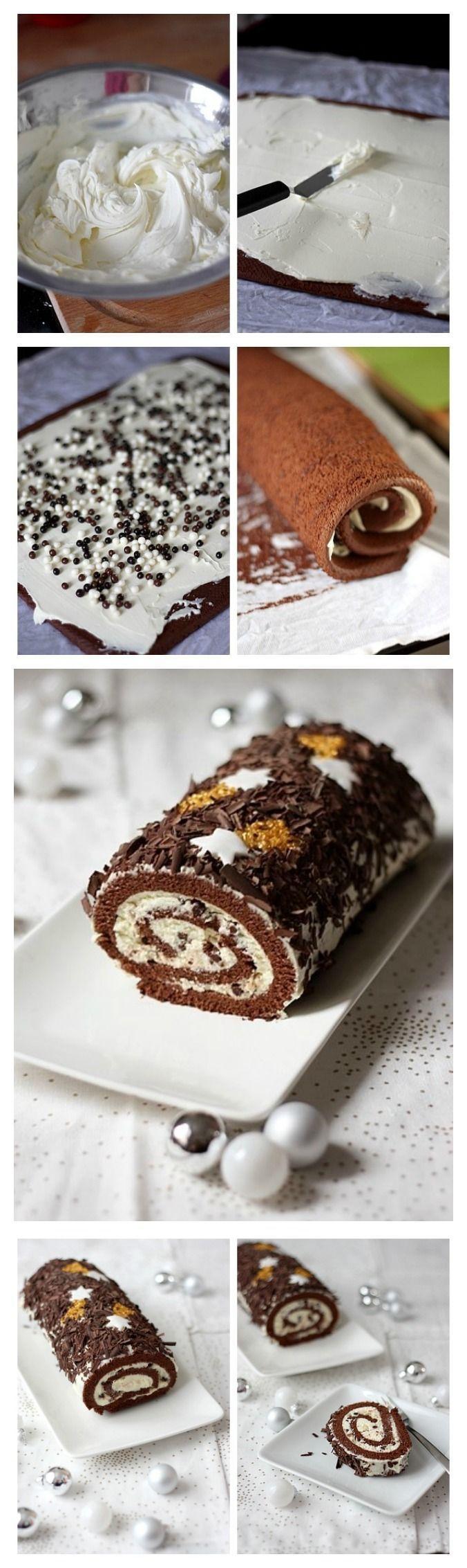 Tronco de Navidad de chocolate y mascarpone / http://www.gourmandiseries.fr