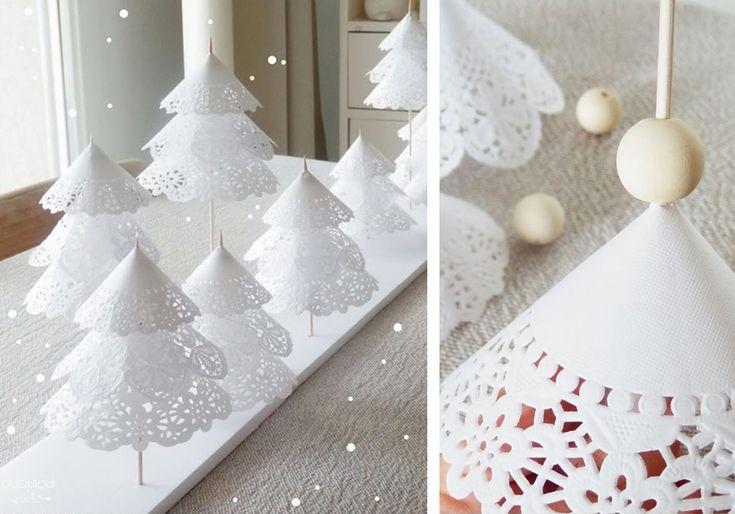 Alberi di Natale creati con centrini di carta #paper #christmas #tree #DIY