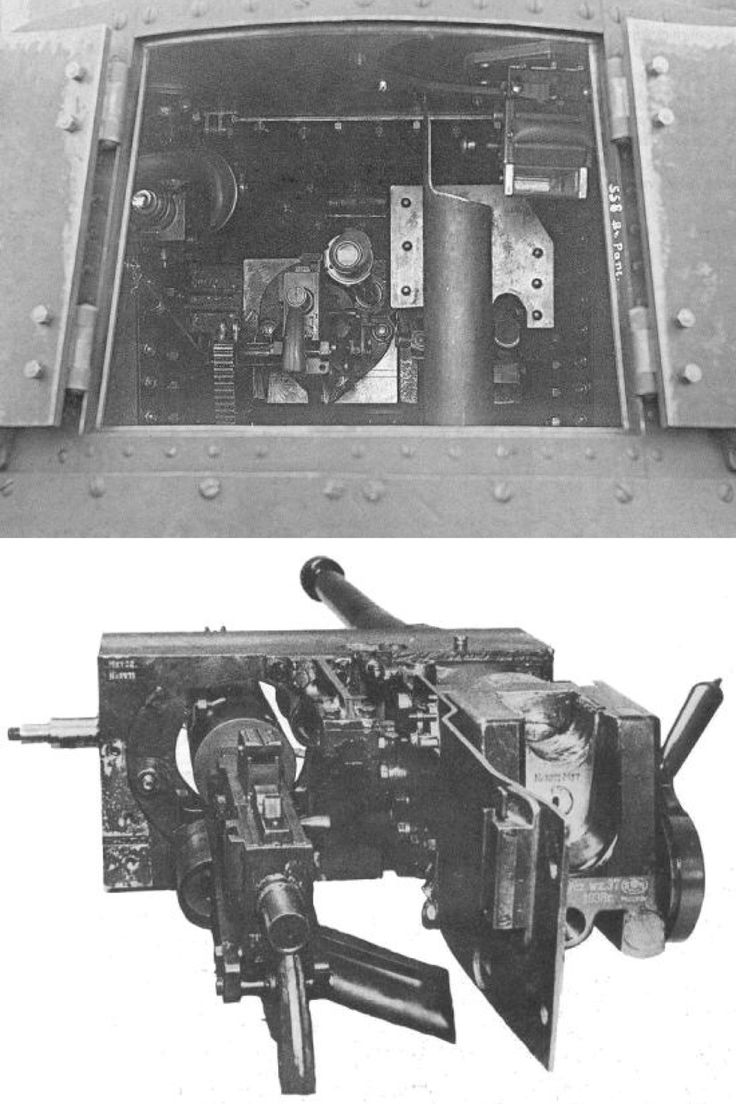 A back-door view of the 7TP's prototype turret interior (serial turrets had no back door). From the left, visible are: periscope sight, pistol grip of 7.92mm wz 30 TMG, telescopic sight, 37mm wz. 37 gun's Breeches guard and a pipe for case ejecting, and commander's periscope. An interior of serial turrets was similar. Dismounted co-axial mounting of wz.37 gun and wz. 30 TMG of 7TP tank.