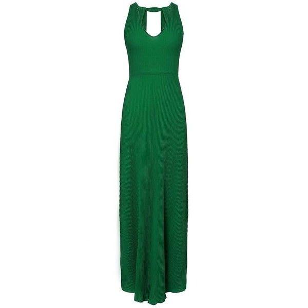 Pleat Backless High Waist Sleeveless Boho Formal Maxi Dress ($11) ❤ liked on Polyvore featuring dresses, gowns, green formal dresses, pleated maxi dress, formal ball gowns, green gown and maxi dress