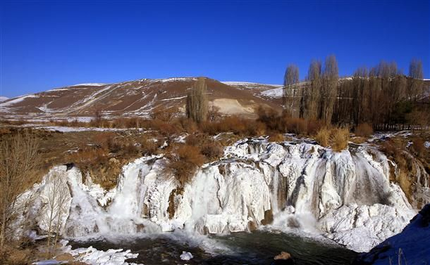 Muradiye falls in the eastern province of Van is mostly frozen due to extremely low temperatures. AA photo