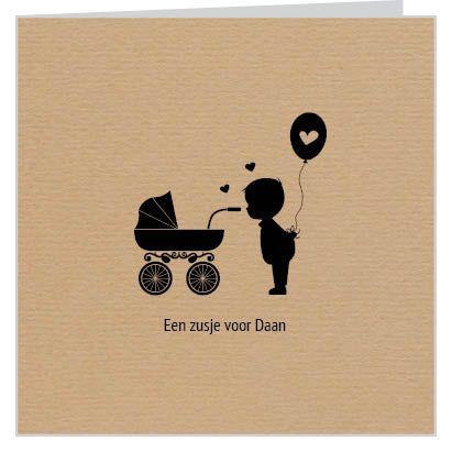#geboortekaartje voor een #zusje of #broertje met design van #bruin #kraftpapier kinderwagen en broertje met ballon. Je kunt het ontwerp geheel naar wens aanpassen door plaatjes van kleur te veranderen of zelfs te vervangen door bijpassende figuurtjes uit onze beeldenmap. Kortom, je maakt het jouw unieke kaartje op www.babyboefjes.nl Direct het kaartje bewerken: http://www.babyboefjes.nl/kaarten/geboortekaartjes/geboortekaartje-01-1-0370.html