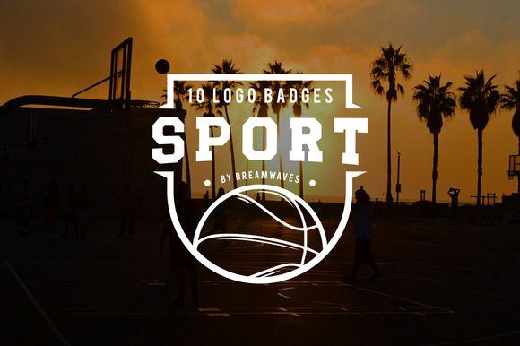 10 logo badges sport by dreamwaves on @creativemarket