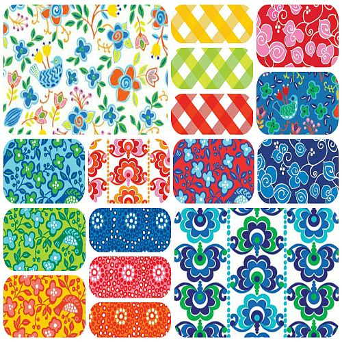 Bird floral fabric FQ Bundle