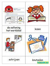 Flitskaarten thema school (doewoorden) om met anderstalige nieuwkomers en leerlingen Nederlands te oefenen. Speel allerlei spelletjes om hun Nederlandse kennis te verrijken.