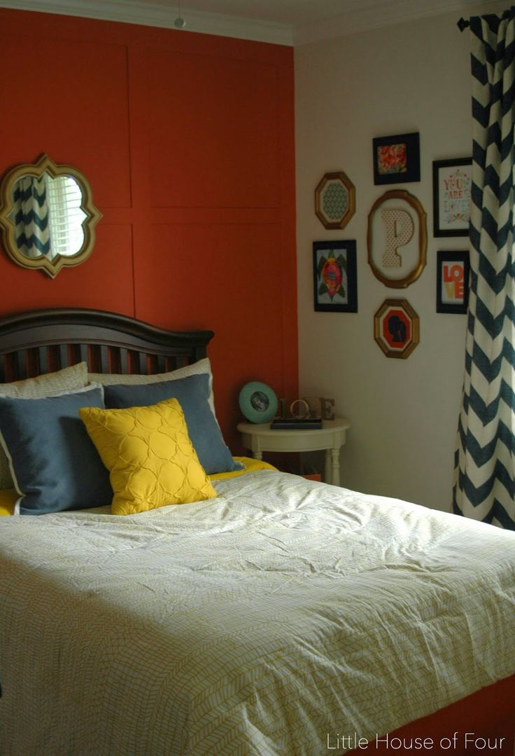 Little House of Four: Navy, Coral and Yellow Bedroom Reveal