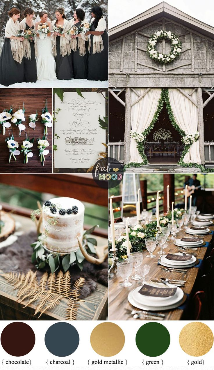 red gold and white wedding ideas%0A Rustic December Wedding in Charcoal   green   muted gold Wedding Colours
