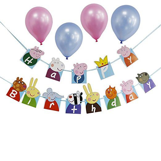 Peppa Pig Theme Birthday Party Decoration For Kids Happy Birthday Party Banner Supplies With 4 Pink/Blue Balloons
