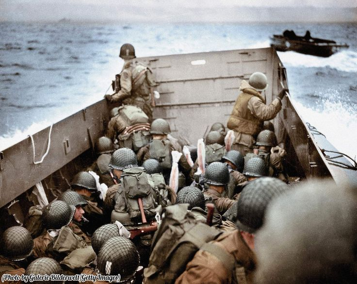A landing craft approaching Omaha Beach in Normandy, France on the 6th June…