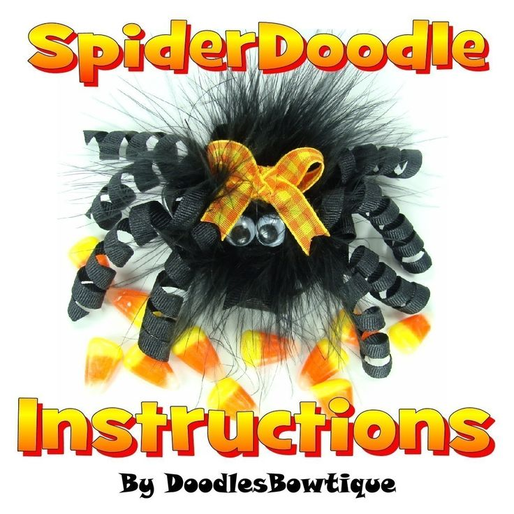 Free Homemade Hair Bows Instructions | Boutique Clip Hair Bow Halloween Spider Instructions DIY HairBow FREE ...