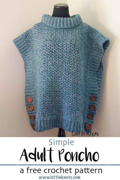 Amelia Poncho Adult Sweater - Padrão De Crochê Livre
