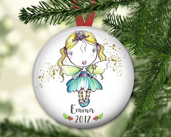 Cute Fairy Christmas Ornament. Personalized Christmas ornament for kids.