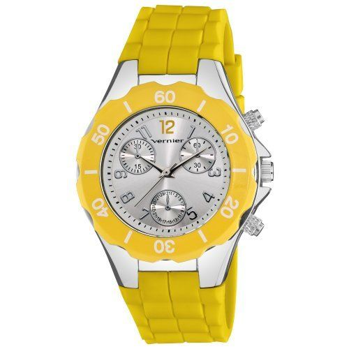Vernier Women's VNR11121YL Fashion-Sport Yellow Silicone Faux Chrono Watch Vernier. $24.99. Quartz movement. Water-resistant to 10 M (33 feet). Case diameter: 38 mm. Mineral dial window. Easy read dial