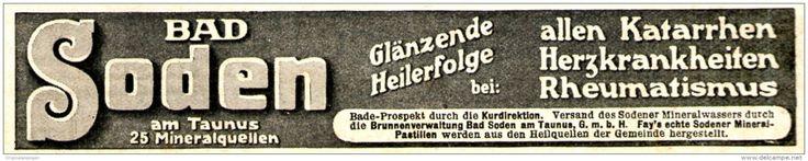 Original-Werbung/ Anzeige 1910 - BAD SODEN IM TAUNUS - ca. 120 X 25 mm