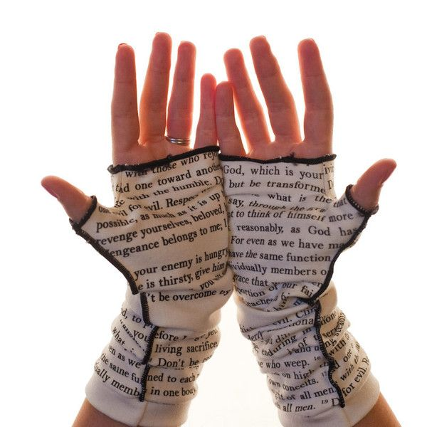 Can't take your hands off of your favorite book? Now you'll never have to! Our famous fingerless gloves, now with words from the Bible, Romans chapter 12. These gloves are companion pieces to our Roma