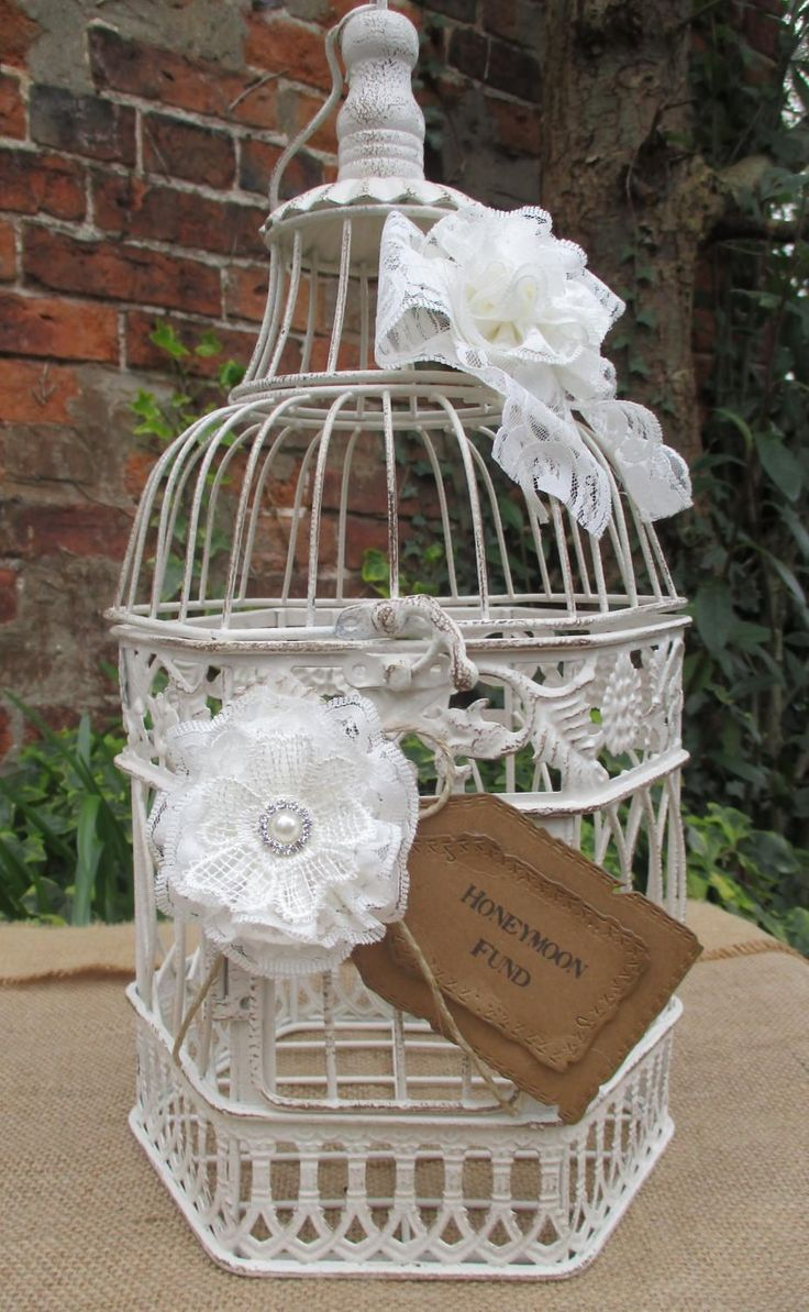 Birdcage Honeymoon Fund - Gift Post Box Card Holder-Bridal Shower - Rustic Wedding by TheIvoryBow on Etsy