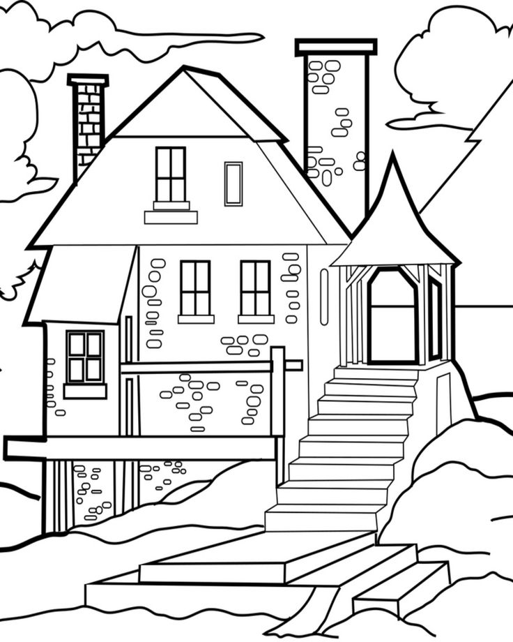 Free Printable House Coloring Page House colouring pages
