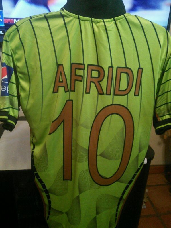 2015 Shahid Afridi Pakistan Cricket World Cup Jersey Size Large Free Shipping