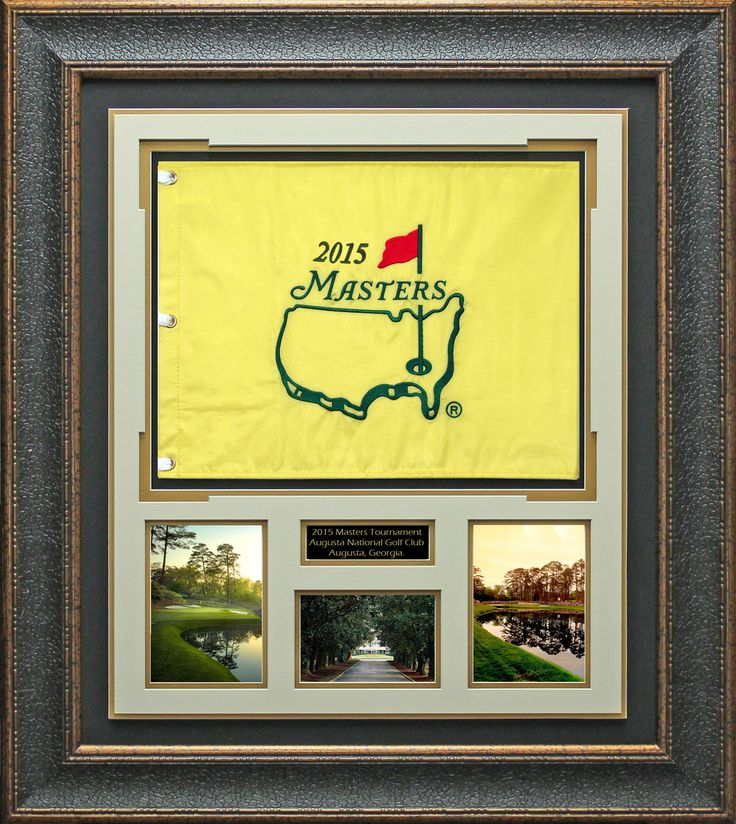 2015 Masters Flag Unsigned Collage Display, 2015 Masters Daily Ticket