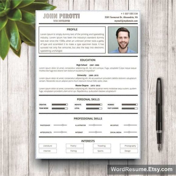 67 best Modern and Creative Resume Templates images on Pinterest - clean resume template word