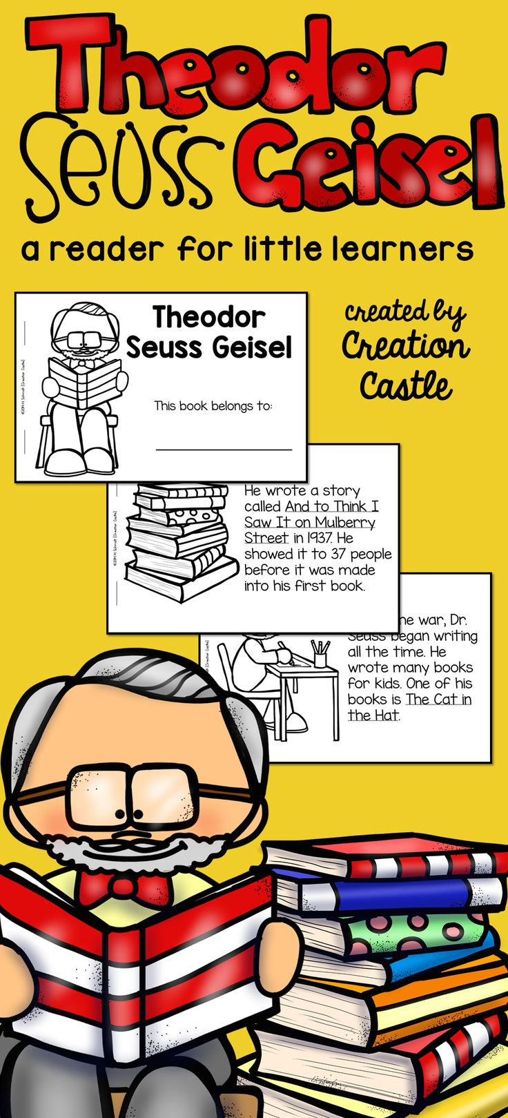 A short printable reader for first grade about the life of Theodor Seuss Geisel. Perfect for teaching about Dr. Seuss or using during Read Across America!