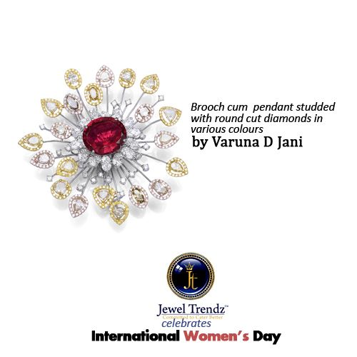 Brooch cum pendant studded with round cut #diamonds in various colours. #Jewellery by Varuna D Jani.