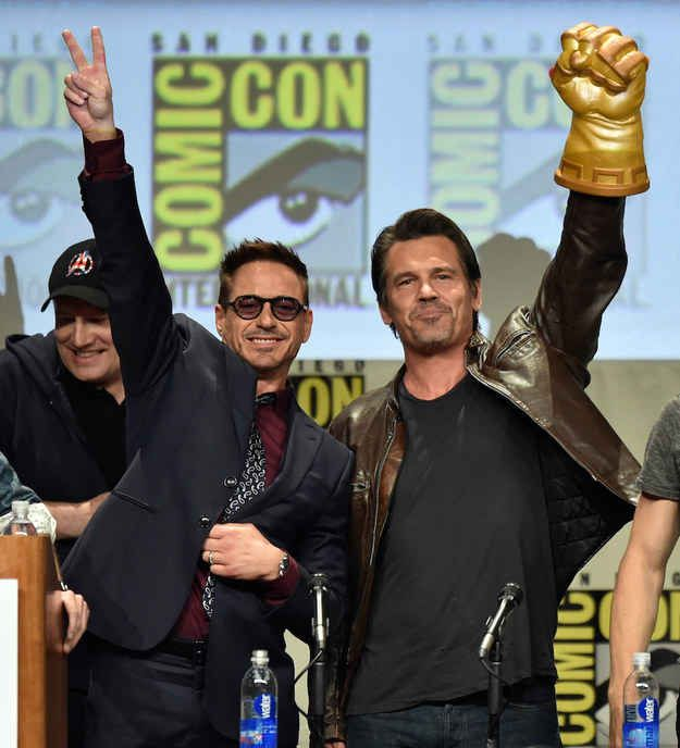 """CLICK ON THIS FOR TE DESCRIPTION OF AVENGERS 2 aAGE OF ULTRON FIRST LOOK AT COMIC CON!!! And if that wasn't enough, Josh Brolin, who voices Marvel Big Bad Thanos in Guardians of the Galaxy , emerged on stage brandishing the Infinity Gauntlet .   """"The Avengers: Age Of Ultron"""" First Look Plays To A Standing Ovation At Comic-Con"""
