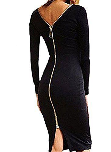 Elégante Robe Longue Mode Moulante Femme Manches Longues Zippée Dos Robe de  Cocktail Soirée - Koobea - Noir - XXL f29ceb0c04d9