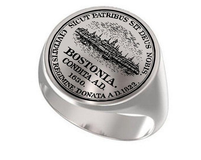 Boston United States, Massachusetts, Boston, United States Cities, Massachusetts, Signet Ring, Engraved Round Ring, 925 Silver Signet Ring