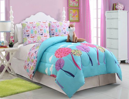 blue pink purple white full teen girls kids comforter set fox biab