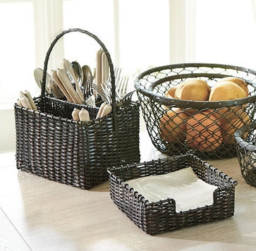 Maren Woven Metal Caddy & Napkin Holder traditional napkin rings