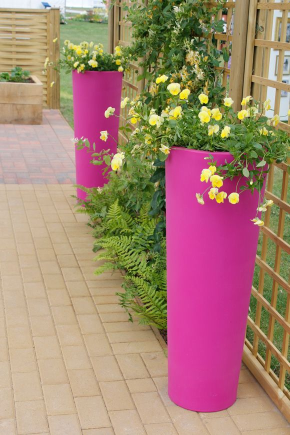 piper might like to feature these tall and colorful outdoor planters on the robinses u0026 39  patio