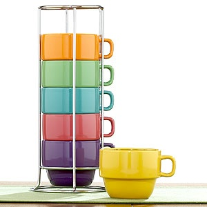 I love these stackable oversize stoneware mugs. $9.99 for the set. #mugs #kitchen #cups