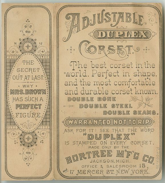 Duplex Corset 3/3, ca. 1885 by Library Company of Philadelphia, via Flickr vintage aged ephemera