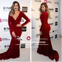 Khloe Kardashian бордовый бархат с v-образным вырезом длинная рукавами знаменитости вечерние платья элтон джон оскар ну вечеринку(China (Mainland))