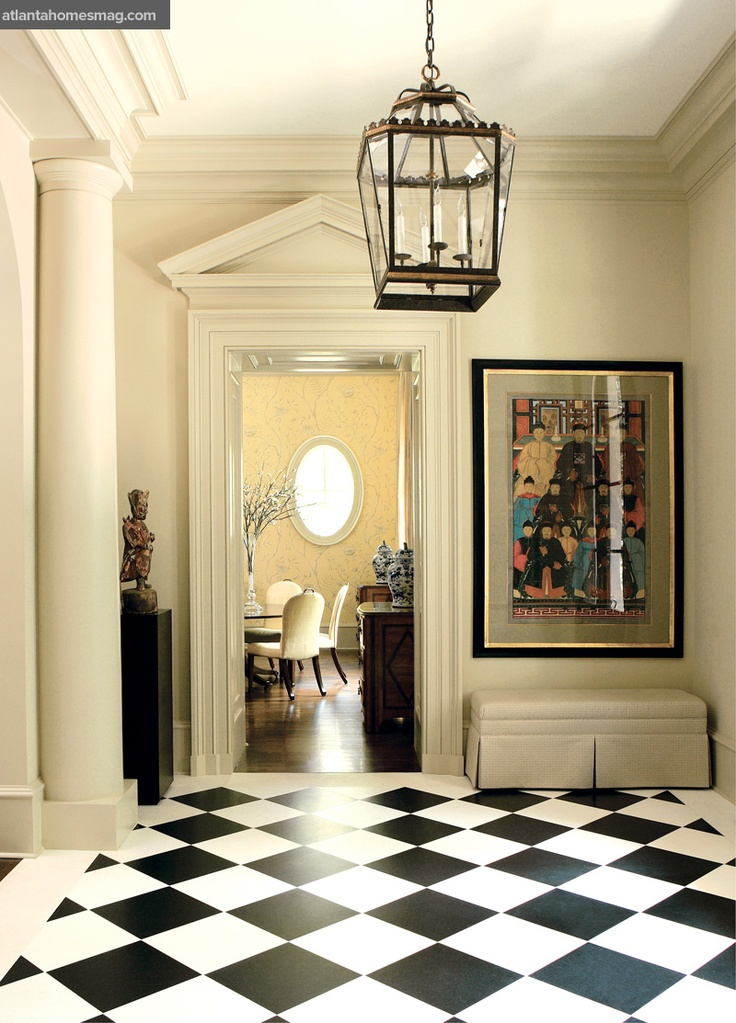Foyer Marble Tile Designs : Classic black white marble foyer decor pinterest