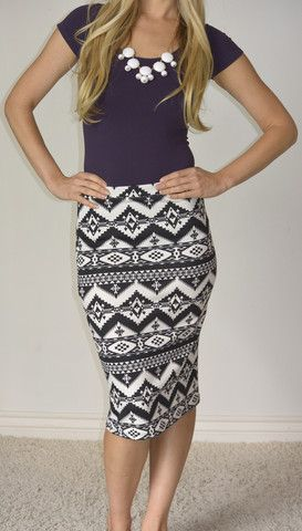 SexyModest Boutique. Tribal print pencil skirt