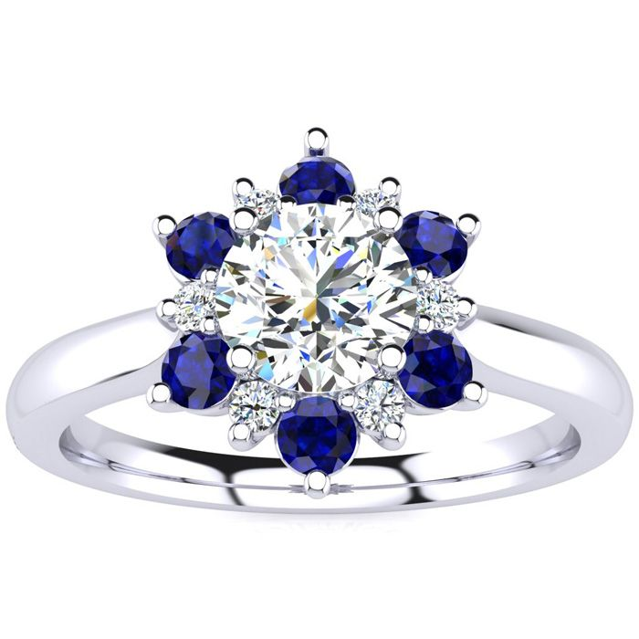 1 1 2 Carat Round Shape Flower Halo Sapphire And Diamond Engagement Ring Cheap Diamond Engagement Rings Expensive Engagement Rings Engagement Rings Affordable