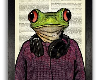 Cool Frog Poster, College Dorm Room Decor Art Print, Dictionary Print Poster, Frog Illustration Art, Boyfriend Gift, Teenager Gift Boys Art