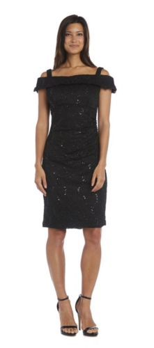 R-amp-M-Richards-Dress-Black-Sequined-Lace-Black-Off-Shoulder-Special-Occasion-E2