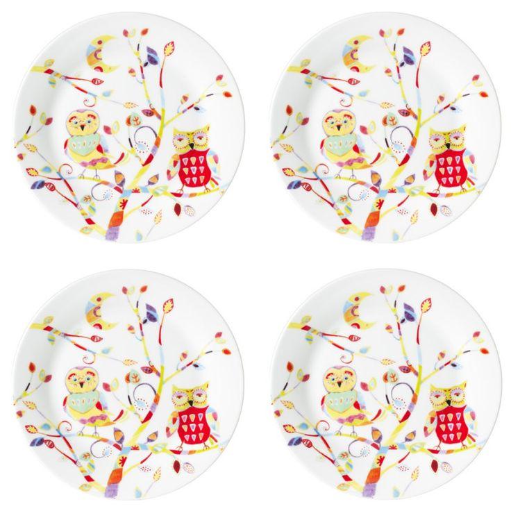 """Coffret comprenant 4 jolies assiettes à dessert.  Motifs colorés """"chouettes"""".  En porcelaine.  Diamètre : 21 cm"""