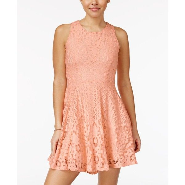 American Rag Lace High-Low Fit & Flare Dress, ($50) ❤ liked on Polyvore featuring dresses, tropical peach, fit flare dress, peach lace dress, red lace dresses, red hi low dress and lace dress
