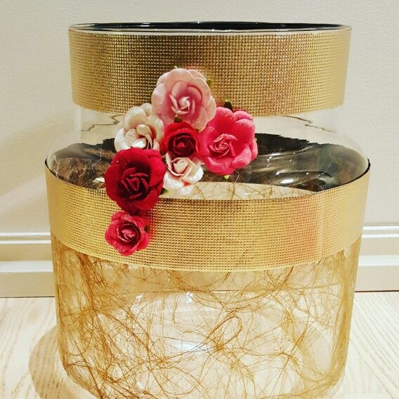 Ikea jar, decorated with pink & gold details.