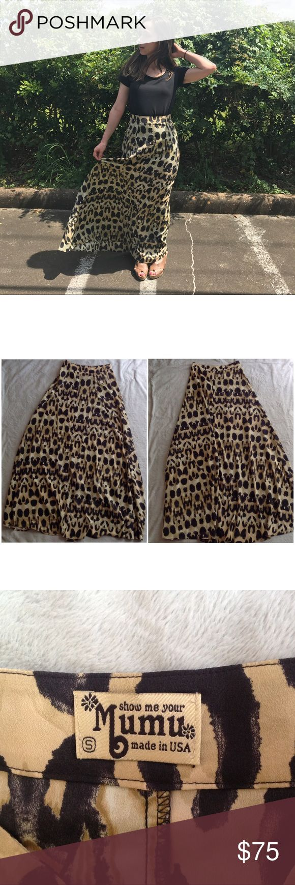 "Show Me Your Mumu Princess Di Leopard Maxi Skirt Excellent used condition. Princess Di Ballgown Skirt by Show Me Your Mumu in leopard print (looks like Momma Cat print). Beautiful and flattering high waisted maxi skirt with a side zip and gorgeous draping. Size small, see photos for measurements. // Model stats: 5'5"", 120 lbs Show Me Your MuMu Skirts Maxi"