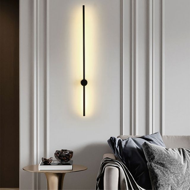 Minimalist Style Long Strip Led Wall Sconce In Black 3000k Led Wall Lamp For Modern Home Wall Sconces Living Room Wall Lights Living Room Wall Sconces Bedroom