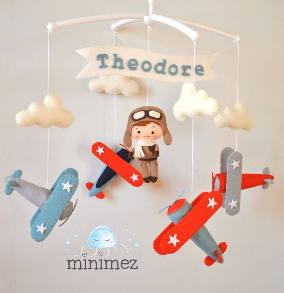 Airplane baby mobile Pilot Vintage plane Baby boy mobile Airplane nursery decor Baby shower gift Personalized baby boy gift 100 % wool felt