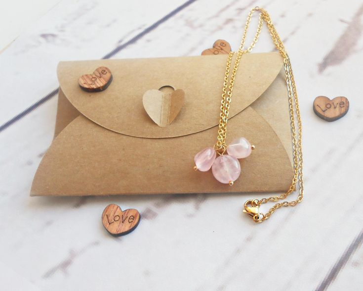 Rose quartz necklace Gold chain choker charm necklace stone Gift for her