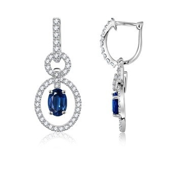Angara Floating Oval Sapphire Dangle Hoop Earrings with Diamonds hlWadtq