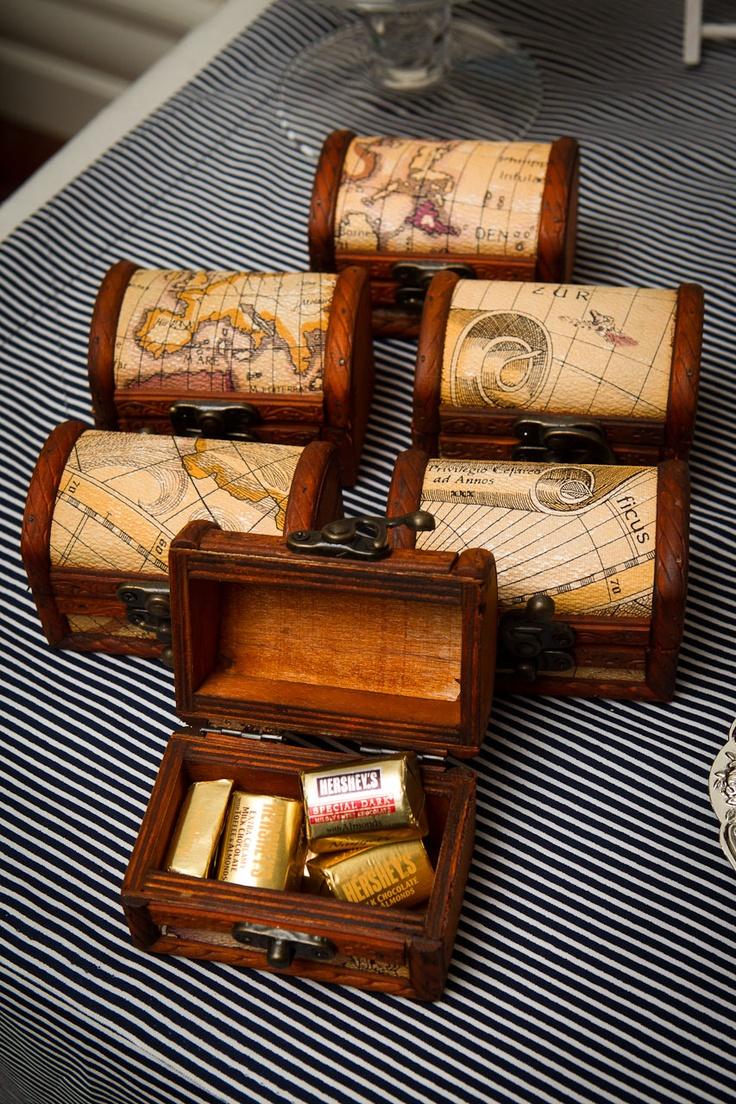 Little Big Company Nautical party. Treasure box favors!